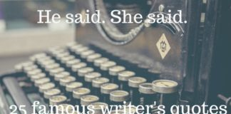 Typewriter and quotes from famous writers
