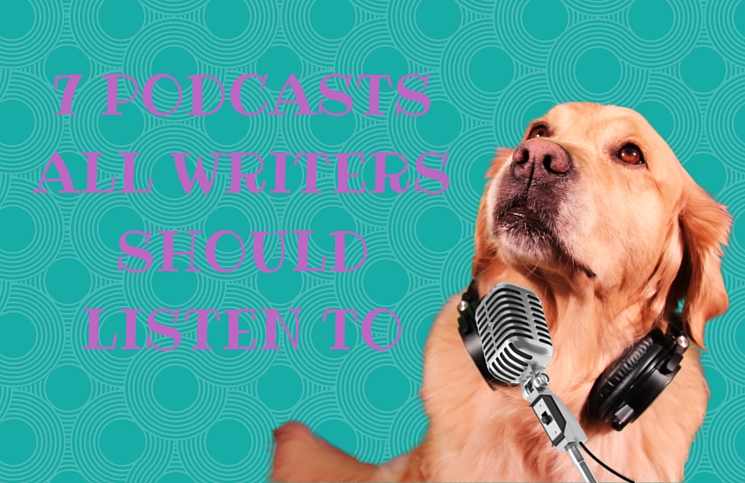 golden retriever with headphones on podcasting