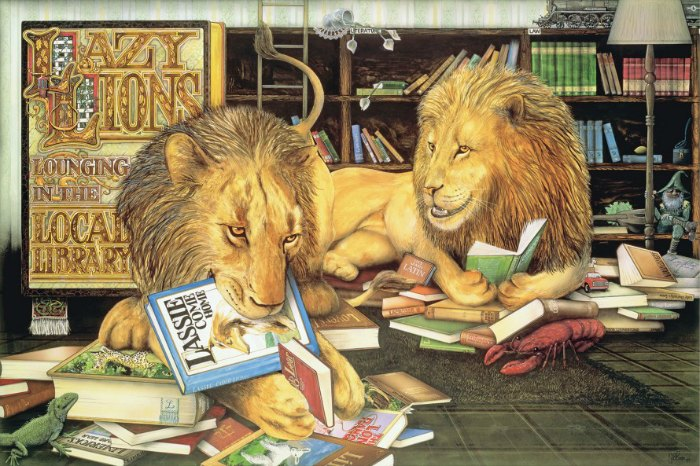 Lazy lions reading in the Animalia library