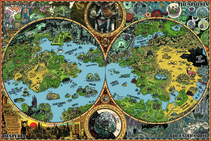 The Dreamlands map of HP Lovecraft
