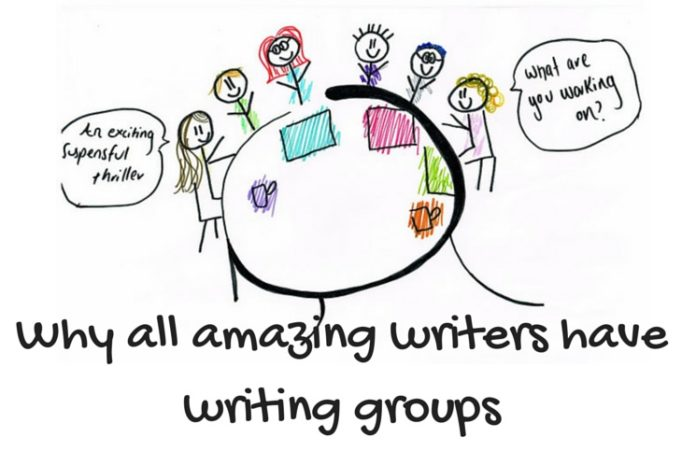 A writers group around the table workshopping