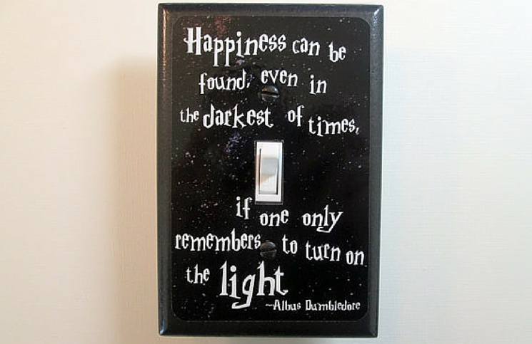 light switch cover with dumbledore quote